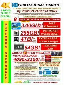 DELL Trading Computer 8CoreXeon 8Monitor 4K 512GBSSD 2TBHDD 64GBRAM DVDRW W10P