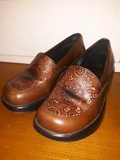 Dansko Size 37 Mandolin Floral Embossed Clogs Loafer Brown Leather Shoes Nursing