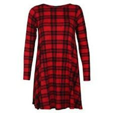 Womens  Red Tartan Print Long Sleeve Swing Skater Dress Plus Size 8-26 NEW