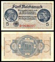 Germany 1940 - 1945 5 Reichsmark VF / *** Nazi Era WWII  Swastika Banknote