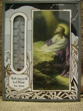 Vintage Framed Religious Thermometer Antique Old Prayer