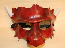 Cinabrio Dragon Máscara Veneciana Mascarada de cuero hecha a mano