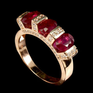 Oval Red Ruby White 14K Rose Gold Plate 925 Sterling Silver Ring