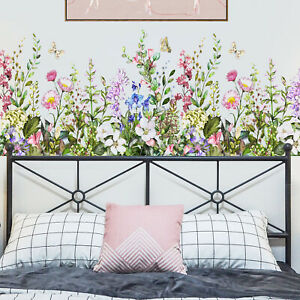 Flower Plant Butterfly Wall Stickers Decals Living Room Vinyl Art Home Decor DIY