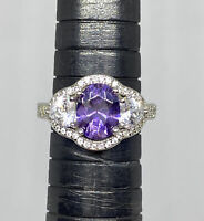 Purple And Clear Cubic Zirconia 925 Sterling Silver Cocktail Ring Size 7