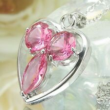3x12~8mm Orchid Red Ruby 18K White Gold Plated Heart Cut Pendant Necklace Chain