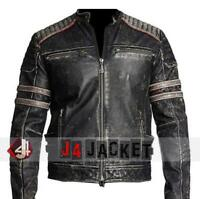 Mens Biker Vintage Motorcycle Distressed Black Retro Winter Leather Jacket