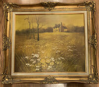 Vintage Oil Painting, Landscape With A House, Oil On Canvas,Daisies 20x24,Signed