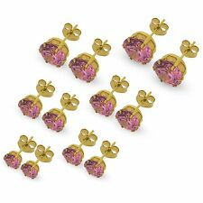 9CT GOLD CZ STUD EARRINGS PINK LILAC AMETHYST BLACK AURORA WHITE CUBIC ZIRCONIA