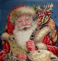 SANTA FATHER CHRISTMAS BELGIAN TAPESTRY CUSHION COVER G578 WITH FULL LENGTH ZIP