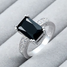 925 Sterling Silver Oval Black Onyx Gemstone Ring Wedding Engagement Jewelry