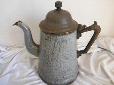Vintage  GRAY Graniteware Coffee Pot Iron Handle Gooseneck Spout