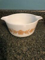 Vintage Pyrex 474-B Cinderella Bowl White Glass Gold Butterflies & Flowers 1 1/2