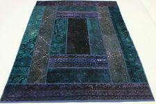 Patchwork Orient Teppich Vintage modern blau lila 200 x150 handgeknüpft 1373