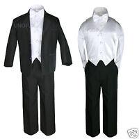 5pc White Vest Bow Tie Boy Baby Toddler Formal Wedding Black Suit Tuxedo S-20