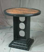 Vintage Industrial Bistro Table. Reclaimed Wood Round Table. Rustic Industrial.