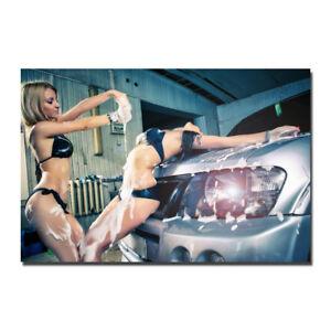 HOT SEXY GIRLS BIKINI WASHING CAR AUTO Silk Canvas Poster 13x20 24x36 inch