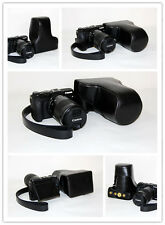 black leather case bag cover for Canon EOS M6 camera with 18-150mm lens + strap