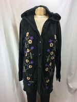 Denim&Co. Hooded Soft Cardigan Sweater Black Embroidered Knit Size Large