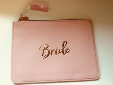 "BRIDE PVC WIPE CLEAN COSMETIC MAKE UP CASE ""BRIDE"" WORDING ROSE GOLD WEDDING HEN"