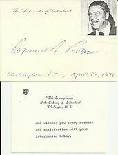 Raymond Probst - Switzerland Ambassador Original Autographed Card with Note