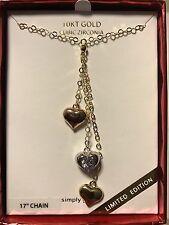 "Fine Jewelry 17"" 10k Yellow White Rose Gold Triple Heart Dangles Necklace NIB ;)"