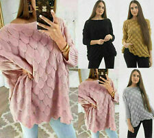Ladies Oversize Knitted Bobble Bubble Baggy Fish Scales Jumper Sweater Top 8-14
