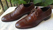 """JOOP!"" brown calfskin, 4-eylet, leather sole, wingtip shoes, 44½(EU=11US),Italy"