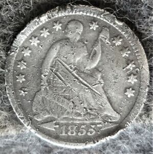 Silver 1855 US Philadelphia Mint Seated Liberty Half Dime -Type 3 - Scratches