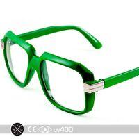 Green RUN DMC Old School Hip Hop Square Vintage Squared Glasses FREE Case S252