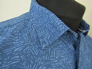 Crew Clothing Co Short Sleeve Blue Patterned Leaf Print Cotton Shirt ~ Large