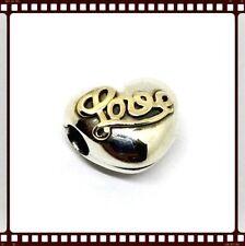 Pandora Silver & 14Ct Gold Love Heart Clip S925 ALE