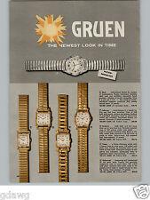 1957 PAPER AD 3 PG Gruen Wrist Watch Jefferson Plaza Rendezvous Autowind Ascot