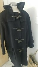 Burberry Specialty Duffle Coat Womens XL Long Black Wool leather loop toggle
