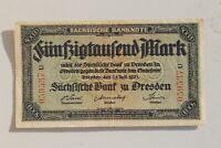 33086 Billet de Banque Saxonne Dresden 50.000 Mark 25.7.23 Infla Paper Money
