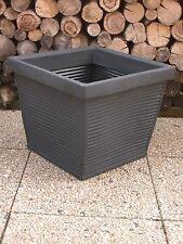 Pflanzkübel Blumenkübel 50x50cm Kunststoff Schwarz/Anthr.  Schiefer Optik/Rillen