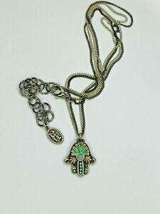 Michal Golan Silver + Green Hamsa Hand Necklace Spiritual Luck Charm Handmade