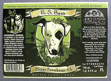 Jolly Pumpkin E.S. BAM HOPPY FARMHOUSE ALE beer label MI 25.4 oz STICKER