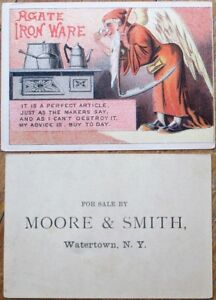 Agate Iron Ware 1890 Victorian Trade Card w/Father Time - Watertown, NY