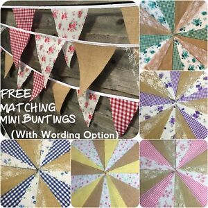 Hessian Fabric Bunting Gingham Floral Lace Wedding Fete Barn Rustic Country Chic
