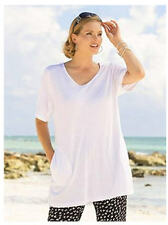 1X 16/18 NWT ULLA POPKEN VNECK SIDE POCKET SWING TUNIC TEE TOP SUMMER TIME G4