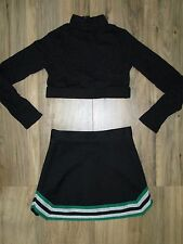 Youth Child M Cheerleader Uniform Cheer Outfit Costume Crop Top Skirt Black