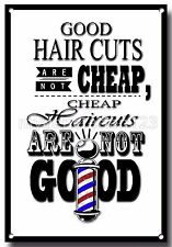 Bonne cheveux coupes ne sont pas bon marché métal A3 signe, coiffeur cite, Barber, rasoirs