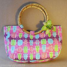 Purple Tiki Bamboo Handle Handbag Bags Rockabilly Pinup Vintage Mid Century