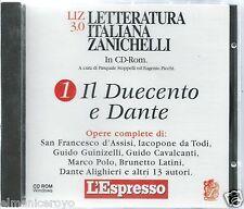CD ROM LETTERATURA ITALIANA ZANICHELLI IL DUECENTO E DANTE SAN FRANCESCO M POLO