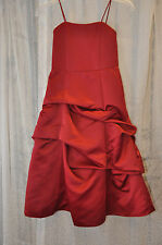 Mini Maids Dress Alfred Angelo Spaghatti Straps A-Line Satin Claret   Size 6
