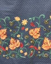Denim Blue Pin-Dotted Chambray with Lavish Crewel Embroidery - Single-Bordered