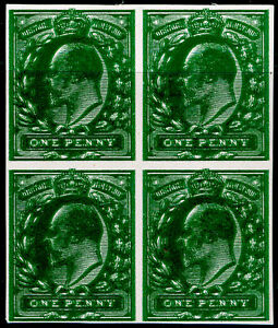 1d deep green on thin white card, UNUSED.Cat £320+ PLATE PROOF DOUBLE IMPRESSION