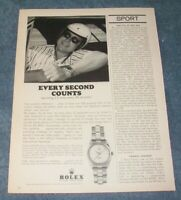 1962 Rolex Zephyr Oyster Perpetual Watch Vintage Ad with Fireball Roberts