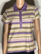 Tommy Bahama Womens Juniors Medium M 8/10 Purple Striped Cap Sleeve Polo Shirt